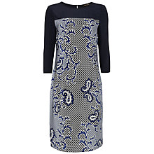 Buy Jaeger Paisley Dress, White / Blue Online at johnlewis.com