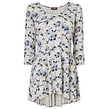 Buy Phase Eight Floral Tegan Godet Top, Blue/White Online at johnlewis.com