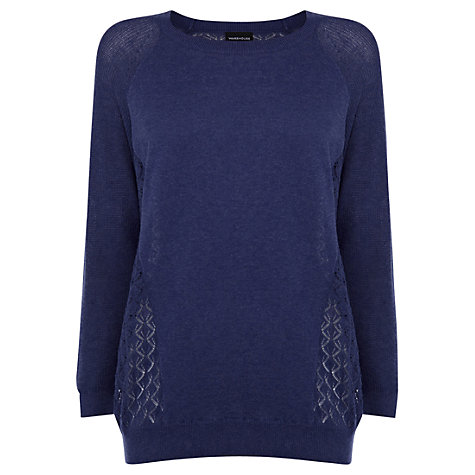Buy Warehouse Block Pointelle Jumper, Blue Online at johnlewis.com
