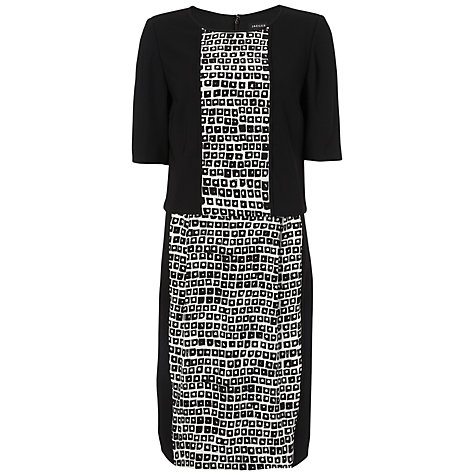 Buy Jaeger Silk Layer Dress, Black / White Online at johnlewis.com