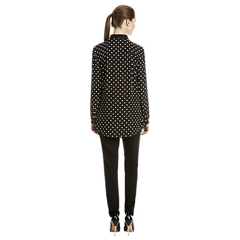 Buy Warehouse Spot Print Oversized Shirt, Black Online at johnlewis.com
