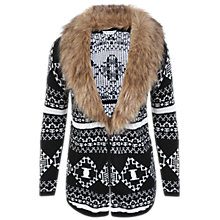 Buy Miss Selfridge Aztec Faux Fur Trim Cardigan, Black Online at johnlewis.com