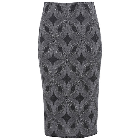 Buy Miss Selfridge Glitter Tube Pencil Skirt, Metallic Online at johnlewis.com