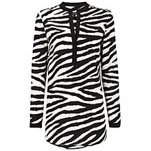 Buy Jaeger Zebra Silk Tunic Top, Black / White Online at johnlewis.com