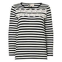 Buy Jaeger Rope Trim Breton T-Shirt, Black / White Online at johnlewis.com