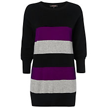 Buy Jaeger Cashmere Striped Tunic Dress, Black / Multi Online at johnlewis.com