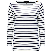 Buy Jaeger Breton Top, White / Navy Online at johnlewis.com