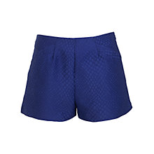 Buy Miss Selfridge Snake Print Jacquard Shorts, Bright Blue Online at johnlewis.com