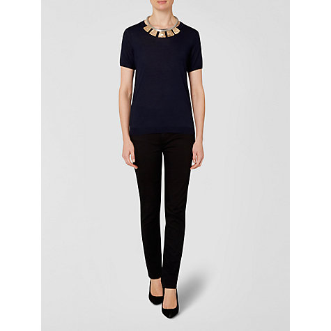 Buy Jaeger Fine Gauge Merino Knitted Top, Navy Online at johnlewis.com