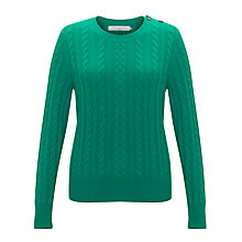 Buy John Lewis Cashmere Cable Crew Neck Jumper, Jade Online at johnlewis.com