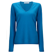 Buy John Lewis Cashmere V-Neck Jumper, Mid Blue Online at johnlewis.com