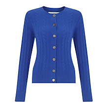 Buy John Lewis Cashmere Cable Crew Neck Cardigan, Cobalt Online at johnlewis.com