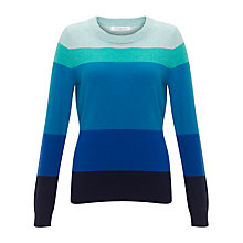 Buy John Lewis Cashmere Crew Neck Jumper, Blue Stripe Online at johnlewis.com