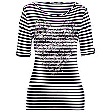 Buy Betty Barclay Stripe Studded T-Shirt, Navy Online at johnlewis.com