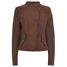 Buy Oasis Zip Front Faux Leather Collarless Jacket, Tan Online at johnlewis.com