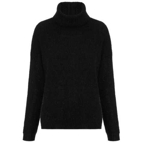 Buy Whistles Grace Boxy Roll Neck Jumper, Black Online at johnlewis.com