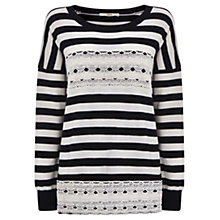 Buy Oasis Lace Detail Stripe Jumper, Off White Online at johnlewis.com