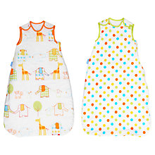 Buy Grobag Hippo Hop and Spotted Sleep Bag, 2.5 Tog, Pack of 2, White/Multi Online at johnlewis.com