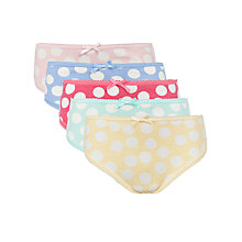 Buy John Lewis Girl Bright Spot Briefs, Pack of 5, Multi Online at johnlewis.com