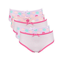 Buy John Lewis Girl Spot & Stripe Briefs, Pack of 5, Pink/Multi Online at johnlewis.com