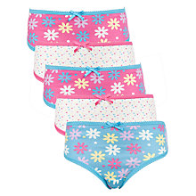 Buy John Lewis Girl Floral & Spot Print Briefs, Pack of 5, Pink/Blue Online at johnlewis.com