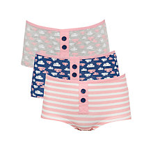Buy John Lewis Girl Cloud Print Boxers, Pack of 3, Pink/Multi Online at johnlewis.com