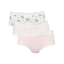Buy John Lewis Girl Vintage Rose Print Shorties, Pack of 3, Pink/White Online at johnlewis.com