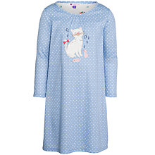 Buy John Lewis Girl Polka Dot Cat Motif Nightdress, Blue Online at johnlewis.com