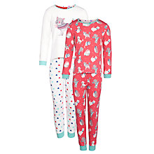 Buy John Lewis Girl Cat & Heart Print Pyjamas, Pack of 2, Pink/White Online at johnlewis.com