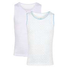 Buy John Lewis Girl Stripe & Dot Print Vest, Pack of 2, Multi Online at johnlewis.com