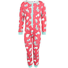 Buy John Lewis Girl Cat Print Onesie, Pink Online at johnlewis.com