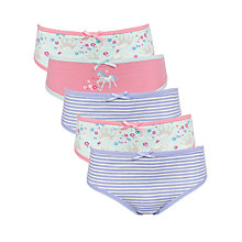 Buy John Lewis Girl Floral Horse Print Briefs, Pack of 5, Multi Online at johnlewis.com