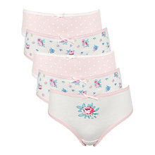 Buy John Lewis Girl Vintage Floral Print Briefs, Pack of 5, Pink Online at johnlewis.com