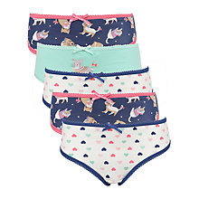 Buy John Lewis Girl Cat Print Briefs, Pack of 5, Multi Online at johnlewis.com