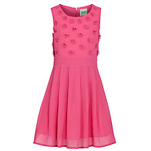 Buy Yumi Girl Floral Applique Dress, Pink Online at johnlewis.com