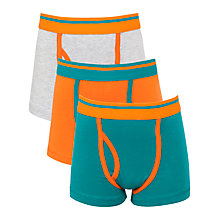 Buy John Lewis Boy Colour Block Trunks, Pack of 3, Teal/Orange Online at johnlewis.com