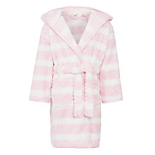 Buy John Lewis Girl Stripe Hooded Bath Robe, Pale Pink Online at johnlewis.com