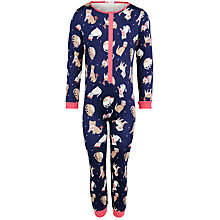 Buy John Lewis Girl Cat Print Onesie, Navy Online at johnlewis.com