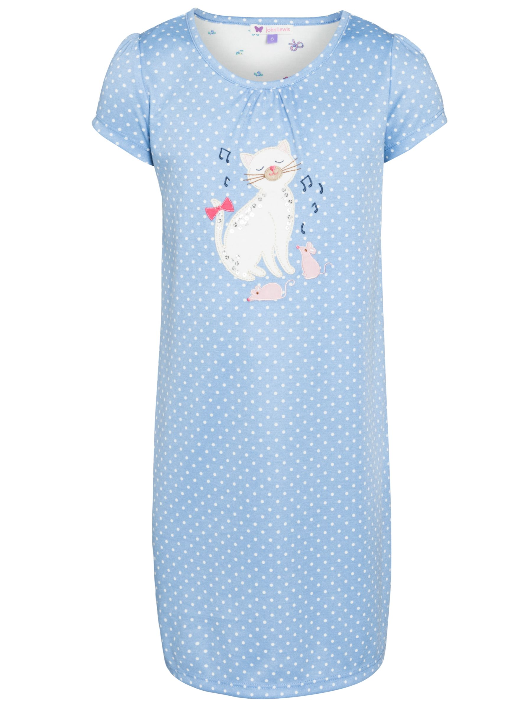 John Lewis Girl Cat Applique Spot Nightdress, Blue