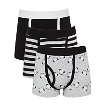 Buy John Lewis Boy Skull & Stripe Print Trunks, Pack of 3, Black/Grey Online at johnlewis.com