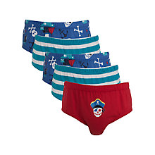 Buy John Lewis Boy Pirate Briefs, Pack of 5, Multi Online at johnlewis.com