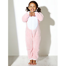 Buy John Lewis Girl Fleece Bunny Rabbit Onesie, Pastel Pink Online at johnlewis.com