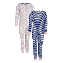 Buy John Lewis Girl Cloud & Stripe Pyjamas, Pack of 2, Multi Online at johnlewis.com