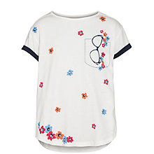Buy Yumi Girl Glasses Print Floral T-Shirt, Cream Online at johnlewis.com