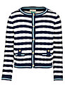 Yumi Girl Stripe Cardigan, Navy/White