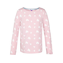 Buy John Lewis Girl Heart Print Long Sleeved T-Shirt, Pink Online at johnlewis.com
