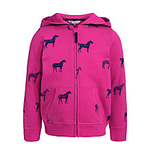 Buy John Lewis Girl Horse Print Zip-Through Hoodie, Fuchsia Online at johnlewis.com