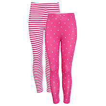 Buy John Lewis Girl Stripe & Polka Dot Leggings, Pack of 2, Fuschia Online at johnlewis.com