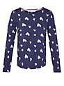 John Lewis Girl Heart Print Long Sleeved T-Shirt, Blue