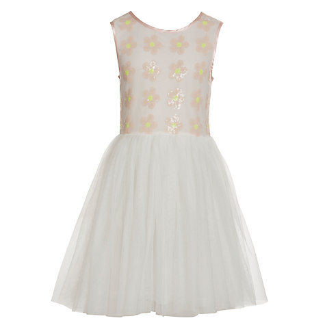 Buy Yumi Girl Sequin Daisy & Mesh Dress, Pink Online at johnlewis.com